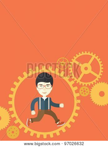 A japanese man with a beard is running inside the gear. Business in action concept. A Contemporary style with pastel palette, orange tinted background. Vector flat design illustration. Vertical layout