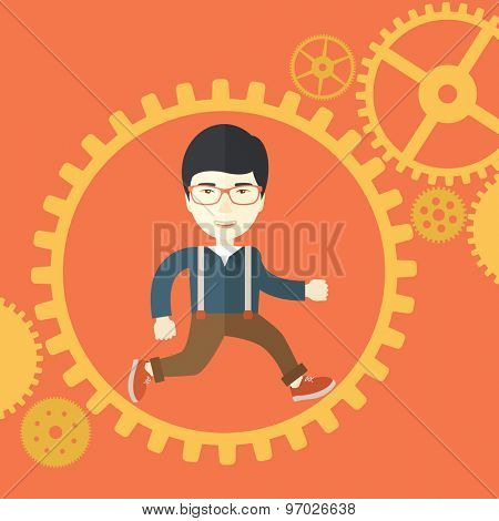A japanese man with a beard is running inside the gear. Business in action concept. A Contemporary style with pastel palette, orange tinted background. Vector flat design illustration. Square layout