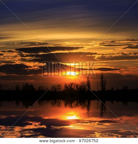 Evening sunset scene over lake