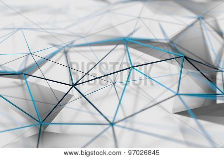 Abstract 3D Rendering of Low Poly White Surface.
