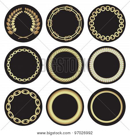 Hand-drawn golden laurel wreaths .Nautical frame motifs.