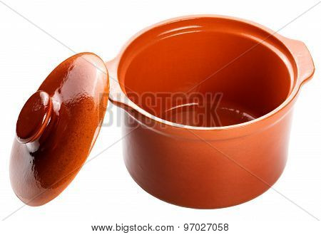 Clay Pot For Cooking. Isolated