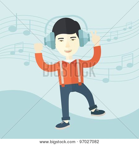 A happy young man dancing, singing while listening to music with headphones showing the notes at his back. Happy concept. A Contemporary style with pastel palette, soft blue tinted background. Vector