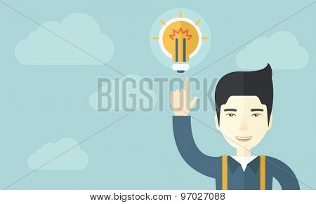 A happy chinese guy raising his hand pointing the bulb having a good idea for business. Business concept. A Contemporary style with pastel palette, soft blue tinted background with desaturated clouds
