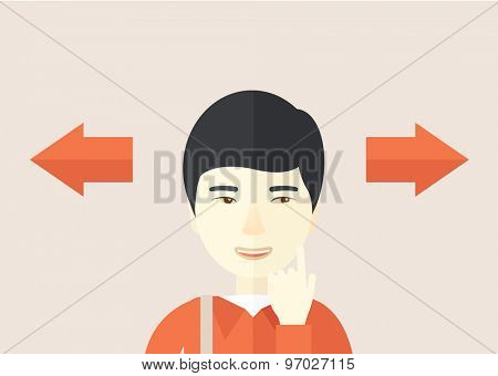 Asian man thinking which way to go left or right arrows. Choosing concept.  A Contemporary style with pastel palette, soft pink tinted background. Vector flat design illustration. Horizontal layout.