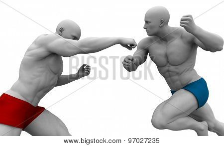Martial Arts Training with Two Fighters in Combat