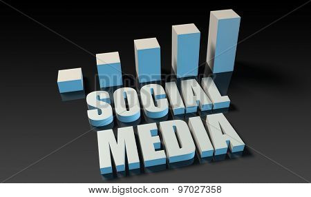 Social media graph chart in 3d on blue and black