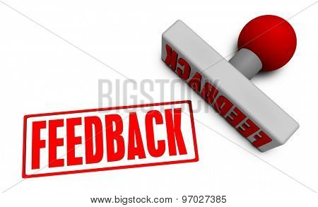 Feedback Stamp or Chop on Paper Concept in 3d