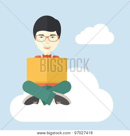 A chinese guy sitting on a cloud having a great idea while reading a book. Business concept. A Contemporary style with pastel palette, soft blue tinted background with desaturated cloud. Vector flat