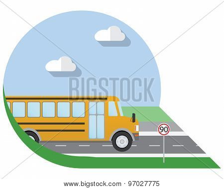 Flat Design Vector Illustration City Transportation, School Bus, Side View Icon