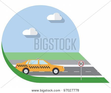 Flat Design Vector Illustration City Transportation, City Taxi, Side View Icon