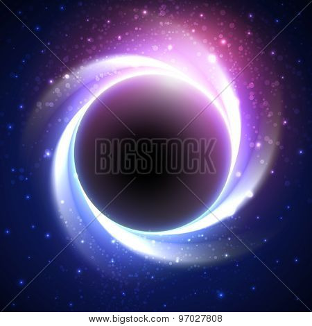 Beautiful eclipse in a distant galaxy. Vector background
