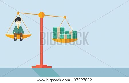 A happy smiling japanese young male sitting on a balance scale with a money bill. Comparison concept. A Contemporary style with pastel palette, soft blue tinted background. Vector flat design