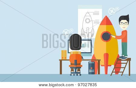 A Two asian men to launch for new start up idea in business. Business concept. A Contemporary style with pastel palette, soft blue tinted background. Vector flat design illustration. Horizontal layout