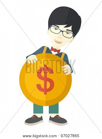 An asian businessman carry big coin of money with his power in business. Business concept. A Contemporary style. Vector flat design illustration isolated white background. Vertical layout.