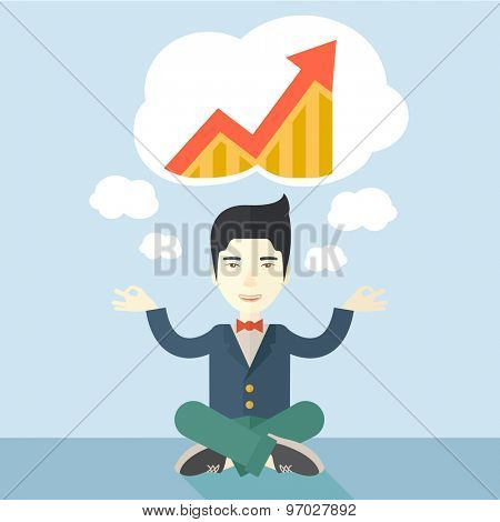 An asian man with speech cloud thinking about on how the business will grow. Business concept. A Contemporary style with pastel palette, soft blue tinted background. Vector flat design illustration