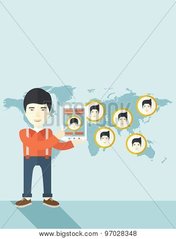 An asian identification, face in world map in every destinations.  A contemporary style with pastel palette soft blue tinted background. Vector flat design illustration. Vertical layout with text