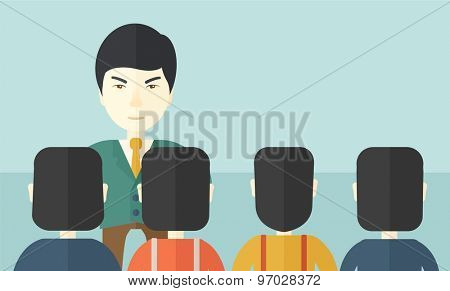 A very angry asian boss standing having a meeting to his employees facing him inside the office. Deadline and work Relationships business concept. A Contemporary style with pastel palette, soft blue