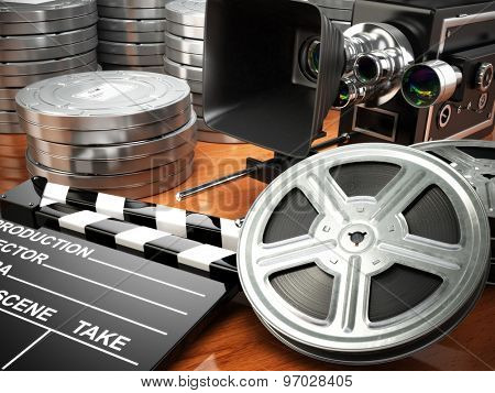 Video, movie, cinema vintage concept. Retro camera, reels and clapperboard. 3d