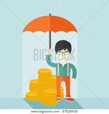 A chinese businessman standing holding umbrella protecting his money to investments, money management. Saving money for any financial crisis will come. Saving concept. A contemporary style with pastel