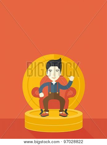 A successful japanese businessman smiling while sitting like a king on a heap of money. Achievement concept. A Contemporary style with pastel palette, orange tinted background. Vector flat design