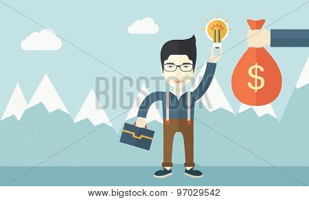 An asian young man exchange his hand with idea bulb to hand of money bag. Exchanging concept. A contemporary style with pastel palette soft blue tinted background with desaturated clouds. Vector flat