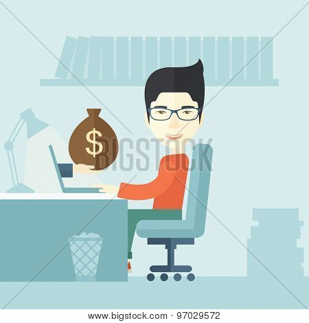 A Japanese Businessman sitting infront of his table working at a laptop searching and browsing with bag of money on hand inside the office. Business concept. A contemporary style with pastel palette