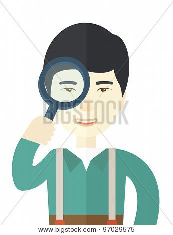 A chinese man with magnifying glass. A Contemporary style. Vector flat design illustration isolated white background. Vertical layout