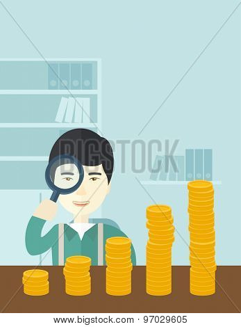 A japanese man looking his growing business in financial crisis concept. Economy and money, coin and success. A contemporary style with pastel palette soft blue tinted background. Vector flat design