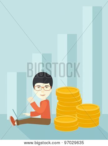 A successful chinese businessman sitting with pile of gold at his back and a laptop on his lap. Winner concept. A contemporary style with pastel palette soft blue tinted background. Vector flat design