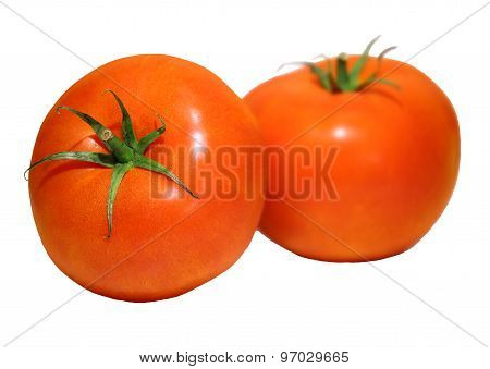 Photo Of 2 Meaty Tomatoes Isolated On White