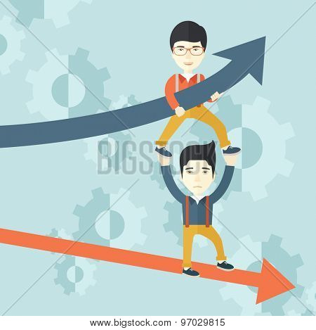 A two asian guy helping with business arrows, blue up and red down and gears background. Teamwork concept. A contemporary style with pastel palette soft blue tinted background. Vector flat design