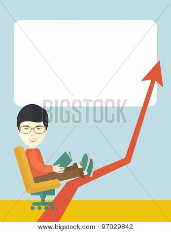 A japanese guy sitting, relaxing in increasing business. Progress business concept. A Contemporary style with pastel palette, soft blue tinted background. Vector flat design illustration. Vertical