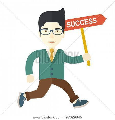 A happy chinese businessman smiling while jumping for his success. Business growth concept. A Contemporary style. Vector flat design illustration isolated white background. Square layout.