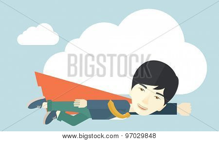 A superhero asian businessman flying high to achieve his goal. Challenge concept. A Contemporary style with pastel palette, soft blue tinted background and yellow clouds. Vector flat design