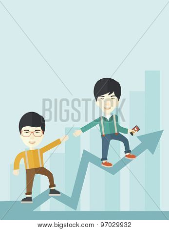 A two chinese businessmen helping each other in growing business leading to success. Partnership concept. A contemporary style with pastel palette soft blue tinted background. Vector flat design