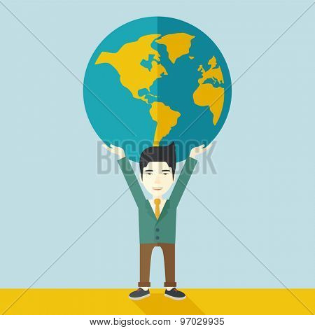 A chinese businessman carrying big globe it is a symbol that he is number one in the world in business society. A Contemporary style with pastel palette, soft blue tinted background. Vector flat