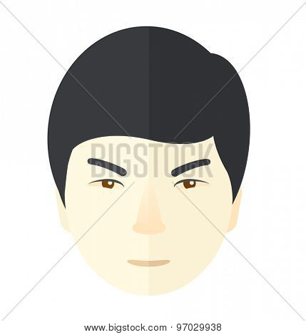 A face of angry japanese guy. A Contemporary style. Vector flat design illustration isolated white background. Square layout.