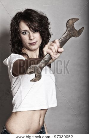Sexy Girl Holding Wrench Spanner Tool