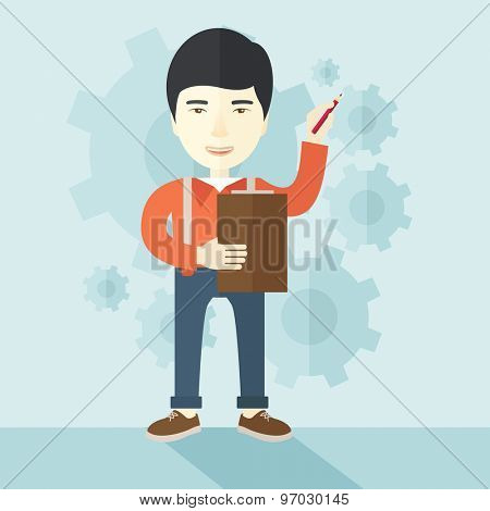 A chinese lecturer preparing his report on statiscal diagram with his pen and notebook. A contemporary style with pastel palette soft blue tinted background. Vector flat design illustration. Square