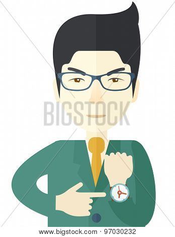A Chinese manager is angry pointing finger to his wristwatch showing the time that is already late. A Contemporary style. Vector flat design illustration isolated white background. Vertical layout