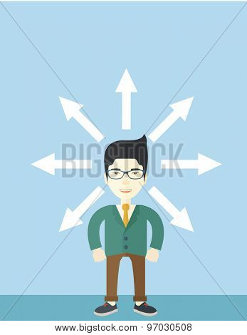 A japanese businessman being confused with too many directions, presenting with arrows, to make decision. A Contemporary style with pastel palette, soft blue tinted background. Vector flat design