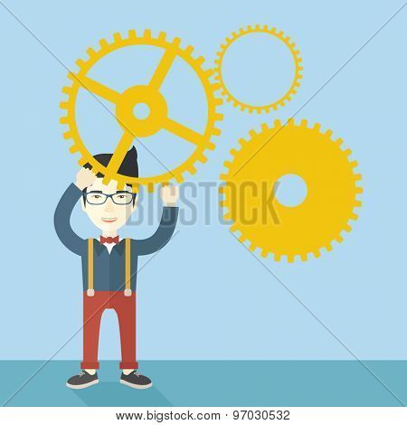 A japanese businessman wearing glasses standing holding up gear planning to go into technology business. Planning concept. A contemporary style with pastel palette soft blue tinted background. Vector