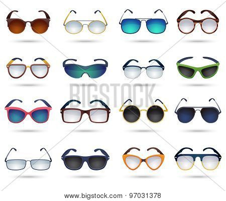 Sunglasses fashion reflection mirror icons set