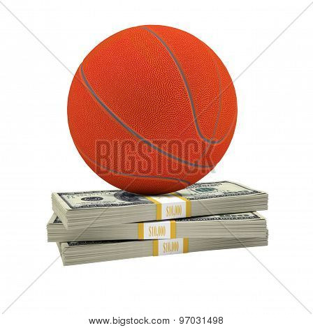 Basketball on stack of money