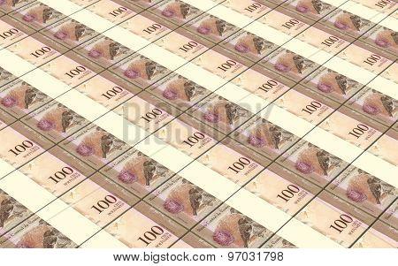Venezuelan Bolivares bills stacks background.