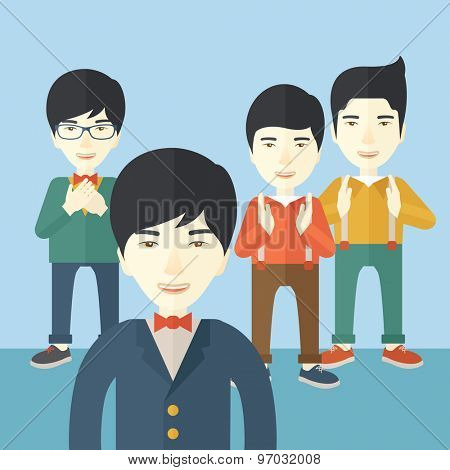 A handsome asian businessmen happy standing showing for their successful in life. . A Contemporary style with pastel palette, soft blue tinted background. Vector flat design illustration. Square