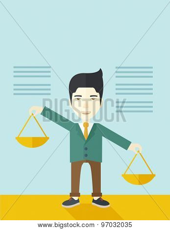 A japanese guy holding a Weighing scale inclined to the other side. Balancing concept. A Contemporary style with pastel palette, soft blue tinted background. Vector flat design illustration. Vertical