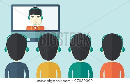 A group of employees with chinese guys in computer wearing headphones having a  business on line conference and communication meeting brainstorm. Leadership concept. A Contemporary style with pastel