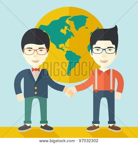 A two chinese men happily handshaking with their International or global world corporation business. Partnership concept. A Contemporary style with pastel palette, soft blue tinted background. Vector